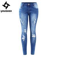 tamaño 26 mujeres jeans ajustados al por mayor-2016 Youaxon Eu Tamaño Ripped Fading Jeans Women `s Plus Size Stretchy Denim Skinny Jeans desgastados para mujeres Jean pantalones lápiz J190425