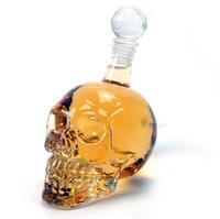 ingrosso decantatori di vetro cristallo-Bottiglia creativa di cristallo della testa del cranio Whisky Vodka Vino Decanter bottiglia di whisky Vetro di birra liquori Vetro Glass Cup Water Bar casa