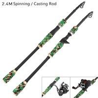 pesca, atração, fundição venda por atacado-Durável 2.4 m Cor Camuflagem Isca De Pesca Rod Spinning Casting Rod 6 Seção Ultra Light Pólo De Pesca De Viagem