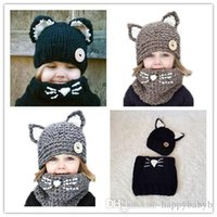 ingrosso cappelli di volpe di volpe-Orecchio Kawaii Cat Fox cappelli lavorati a maglia del bambino con la sciarpa Loop Sciarpa inverno Set per bambini delle ragazze dei ragazzi del cappello di lana caldo per protezioni del partito bambini