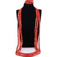 afrikanische perlenkette für männer großhandel-Großhandel Männer Schmuck Set African Orange oder Rot Bräutigam Halskette Set Korallen Korne Nigerian Hochzeit Perlen Set Freies Verschiffen Neu