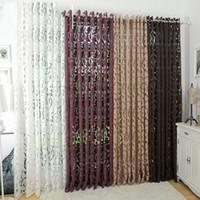 tecido de cortina jacquard venda por atacado-Estilo Moda Eco-Friendly Semi -Blackout Cortinas Cozinha Cortina Janela Sala Sala Cortina Painel Jacquard Tecidos Porta