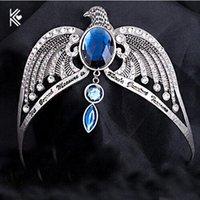 antike silberne stirnbänder großhandel-Ravenclaw Verlieren Krone Horcrux Braut Haarbänder Antik Silber Adler Tier Blau Kristall Stirnbänder Hochzeit Haarschmuck D19011102
