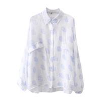 camisa pontilhada camiseta venda por atacado-Senhoras verão Chiffon Blusas 2019 Novas Bolinhas Mulheres Camisas Casuais Camisa de Manga Longa Do Vintage Encabeça Roupas de Moda Coreano