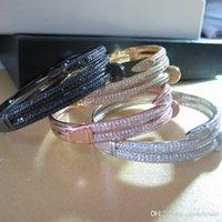 brazaletes de oro blanco para las mujeres al por mayor-Venta al por mayor de alta calidad brazalete de circonio cúbico pavimentado brazalete 18K oro amarillo / blanco / oro rosa pulseras plateadas para mujeres