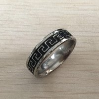 precio de anillo de niños al por mayor-Key Ring Nlm99 negro de la vendimia de acero inoxidable griega hombres, niños de 6 mm delgadas alianza de boda menor precio barato de ajuste cómodo, pequeños de 7 - 12