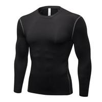 vücut geliştirme tayt forması toptan satış-2018 Yeni Hızlı Kuru Sıkıştırma Sıkı Jersey Fitness Salonu Spor Koşu gömlek Vücut Geliştirme Uzun Kollu Siyah T-Shirt Erkekler