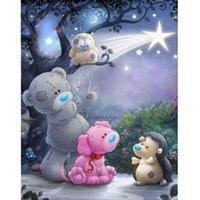 fotos de dibujos animados de bebés al por mayor-Diamante completo bordado para la habitación del bebé 5d diy pintura diamante imitación dibujos animados oso oso 5d taladro
