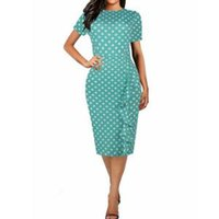 Wholesale work short sleeve for sale - Polka Dot Print Pencil Dresses Office Lady Elegant Short Sleeve Lotus Leaf Dress Women Casual Round Neck Slim Bodycon Party Dress LJJR288