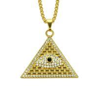 ägyptischen pyramide halskette groihandel-Goldene ägyptische Pyramide Halsketten Anhänger Männer Frauen Iced Out Kristall Illuminati Evil Eye Of Horus Ketten Schmuck Geschenke