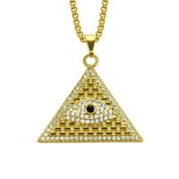 collar piramidal egipcio al por mayor-Pirámide egipcia de oro collares colgantes hombres mujeres helado cristal Illuminati mal de ojo de Horus cadenas joyas regalos