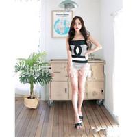um breasted mulheres venda por atacado-Mulheres Stripe Bikini One Piece Conservador Skinny Natação Terno Sexy Preto Branco Cuidados Com o Peito Triângulo Swimwear Venda Quente 23jbD1