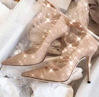 zipper back shoes venda por atacado-Novos sapatos femininos para o início da primavera de 2019 lantejoulas de malha de alta salto stiletto back zipper apontou senhoras único apontou sexy sonho sapatos