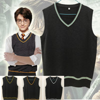 Wholesale xs women costumes for sale - Big Child Harry Potter Sweater Vest V neck Magic School Waistcoat Slytherin Gryffindor Ravenclaw Cosplay Costume Men Women Uniform Sweater