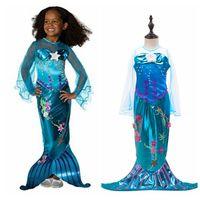 şeffaf giyinmiş kızlar toptan satış-Kızlar Mermaid Prenses Elbise Çocuk Cadılar Bayramı Küçük Denizkızı Ariel Cosplay Kostüm Giyim Şeffaf Uzun Kollu Parti Elbiseler OOA6390