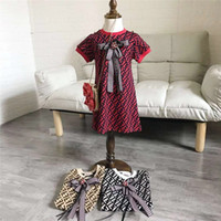 Wholesale baby girls one piece dress for sale - Group buy FF Kids One piece Dress Fends Round Neck Short Sleeve Children Bowknot Summer Dresses Fashion Baby Infant Girl Designer Clothes B6202