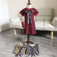 einteiliges kleid für baby großhandel-FF Kinder Einteiliges Kleid Fends Rundhals Kurzarm Kinder Bowknot Sommerkleider Mode Baby, Kleinkind Mädchen Designer Kleidung B6202