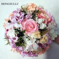 Wholesale flower decorative frame for sale - Group buy Artificial Flower Ball Rose hydrangea iron flower stand simulation rose wreath silk flowers wedding decorative road leading flower frame