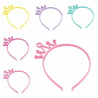 Wholesale hair tiara costume resale online - Plastic Crown Headbands Candy Color Party Costume Tiara Hairbands for Kids and Girls
