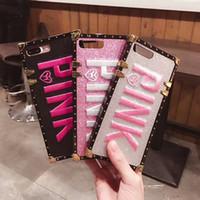 розовый чехол для мобильного телефона оптовых-Роскошные вышивки 3D розовый чехлы для iPhone Xs Max мода Bling мягкие чехлы для iPhone XR Samsung S9 Plus блеск мобильный телефон случаях