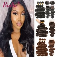 Wholesale colored bundles closure resale online - Dark Light Brown Colored Bundles With Closure Body Wave Human Hair Bundles With Closure Brazilian Hair Weave Bundles Remy Hair Wefts