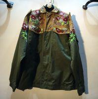 ağır bayanlar toptan satış-Kadın Haki ordu yeşil patchwork siper Avrupa yeni ağır iş boncuklu sequins gevşek kadın siper rüzgarlık ceket