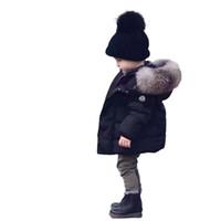 bebek kız için siyah ceket toptan satış-Bebek Erkek Kız Ceket Kış Kalınlaşmış Dış Giyim Bebek Ceketler Çocuk Parka Bebek Kışlık Mont Çocuk Ceketler Trendy Siyah Mont