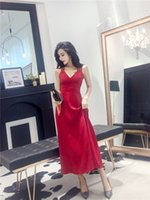 ingrosso bei vestiti lunghi sexy-Nuove donne di estate sexy bella Backless Deep V Evening Dress Wedding Bride Toast Host Costume gonna lunga A0106