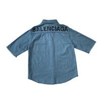 джинсовая джинсовая рубашка напечатана оптовых-19ss новый роскошный дизайн бренда BB назад письма печати тройник джинсы с коротким рукавом рубашки Мужчины Женщины уличная открытый рубашки