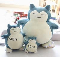 bonecos de criança venda por atacado-30-50 cm Novo pokemons Anime Snorlax Brinquedos de Pelúcia Travesseiro Almofadas Stuffed Animal Boneca Chirstmas presente Crianças Brinquedos Puppet boneca travesseiro