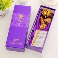güzel romantik çiçekler toptan satış-5 renkler altın folyo gül güzel gül hediye kutusu Romantik sevgililer Günü hediyesi Parti Malzemeleri Dekoratif Çiçekler T8I052
