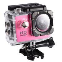 camara de video rosa al por mayor-Cámara de acción 4K Impermeable 30m Deportes al aire libre Video DV Cámara 1080P Full HD LCD Mini videocámara con baterías de 900mAh (PINK)