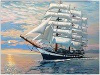 yağlı boya yelkenleri toptan satış-Yağlı Boya Numaralarına göre DIY Boyama Yetişkin El Boyalı Kitleri Boya-Beyaz pürüzsüz yelken 16