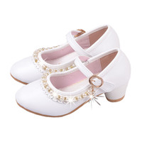 Wholesale high heels shoes for children for sale - Group buy New Pink White Kids Children High Heels Beaded Princess Dance Shoes For Girls Wedding Leather Dress Party School Shoes
