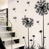 stickers fleurs noires grand achat en gros de-Autocollant Mural Noir Creative PVC Fleur De Pissenlit Autocollants Muraux Arbre Grand Removab Wallstickers Etiqueta Da Parede 18APR18