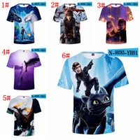 Wholesale fashion cartoon girls t shirt resale online - 6styles How To Train Your Dragon T shirt kids adult cartoon printed Short Sleeves Tee Tops drangon T shirt home casual clothes FFA1701