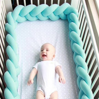 Wholesale bumper kids resale online - INS Knit Crib Fence Denmark Knot Cushion Pillow Sleeping Support Baby Bed Crib Fence Bumper Kid Room Decoration Toys GGA1874