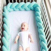 bebek odası yatak takımı toptan satış-INS Örgü Beşik Çit Danimarka Düğüm Yastık Yastık Uyku Destek Bebek Yatağı Beşik Çit Tampon Çocuk Odası Dekorasyon Oyuncaklar GGA1874