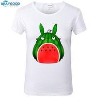 dessus de pastèque achat en gros de-Tee-shirt pour femmes dessin animé mignon Totoro T-shirt pour femme Pastèque drôle imprimé T-shirt Tee été doux à manches courtes blanc Tops S1621