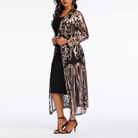 bayanlar siyah polyester bluz toptan satış-Kadın Bluzlar Casual Siyah Boho Seksi Kulübü Ofis Lady İnce Artı Boyutu Sequins Mesh Katı Hollow Kadın Moda Yaz Gömlek Tops
