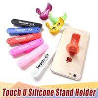 iphone emici toptan satış-Dokunmatik U Emme kupası Vantuz Telefon Tutucu Tek Şekli Silikon Sucker Standı iPhone Tüm Akıllı Telefonlar için Evrensel 1000PS ...