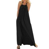 gevşek bohem eteği toptan satış-CHAMSGEND Kadınlar Yuvarlak boyun düz renk kolsuz asılı boyun uzun etek halter bohemian plaj etek moda rahat gevşek elbise