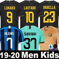 camisas pretas homens venda por atacado-19 20 LUKAKU ALEXIS camisa de futebol Inter Milan Milão 2019 2020 LAUTARO SKRINIAR GODIN BARELLA POLITANO terceiro afastado goleiro de kit homens crianças conjunto uniforme