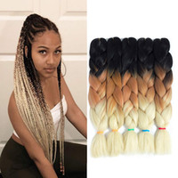 Wholesale kanekalon ombre resale online - 24Inch g Pack Kanekalon Jumbo Box Braiding Hair Extensions Ombre Kanekalon Jumbo Crochet Box Braids Hair