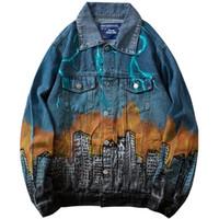 jaqueta vintage de jeans venda por atacado-2019 Denim Jacket Monstro Ataque Mens Hip Hop Denim Jaqueta Bomber Relâmpago Harajuku Streetwear Jeans Jaqueta Hipster Do Vintage