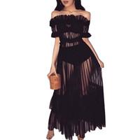 artı kulüp kıyafetleri toptan satış-Mesh Sheer Vestidos Elbise Artı Boyutu Fırfır Seksi Slash Boyun Kapalı Omuz Çizgili Maxi Elbise Kulübü Kıyafet Zarif Parti Elbiseler