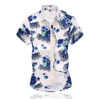 düğme bluzları kısa kollu toptan satış-Çiçek gömlek Erkekler Rahat Yaz Baskılı Düğme Kısa Kollu Hawaii Gömlek Üst Bluz Erkekler Rahat camisas masculina Yeni