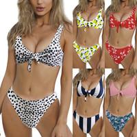 biquíni donna venda por atacado-Estampa de leopardo bowknot set Bikini Swimsuit Nó Floral Maillot De Bain Sexy Swimwear Listrado Dot Traje Da Bagno Donna Maiô LJJA2276