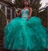 vestido maxi cariño verde al por mayor-Cazadora Vestido Quinceañera Verde Vestido Maxi Ball Cariño Granos de cristal con cordones Más Tamaño Vestidos de fiesta de baile Organza dulce 16 vestidos