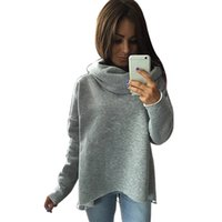 свободный пуловер вязаный для женщин оптовых-Women Solid Long Sleeve Loose Knitting Sweatershirt, Fashion Pullover Hooded Sweatshirt by Cyclamen9 (black, M)